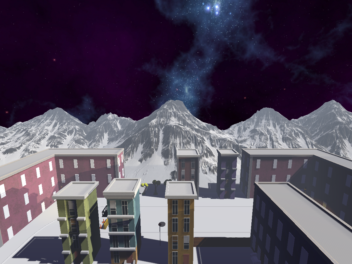 A town in the mountains in space