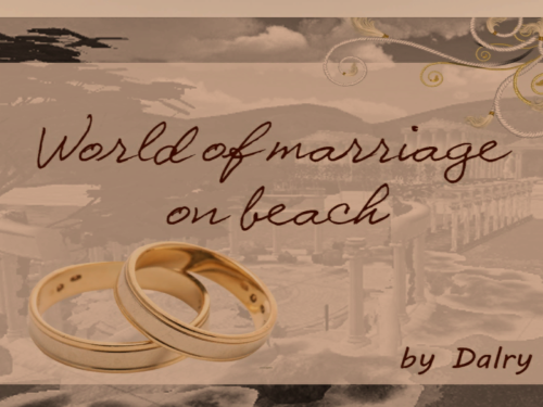 World of marriage on beach