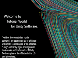 Tutorial World for Unity Software